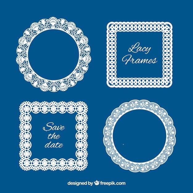 Several lace vintage frames Free Vector