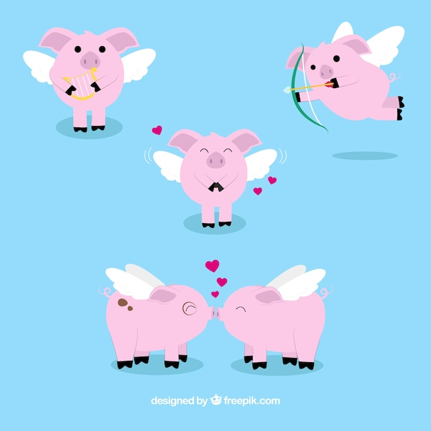 Several little pigs with wings of valentine Free Vector