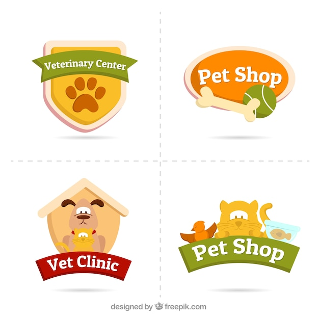 Several logos with animals and accessories Free Vector