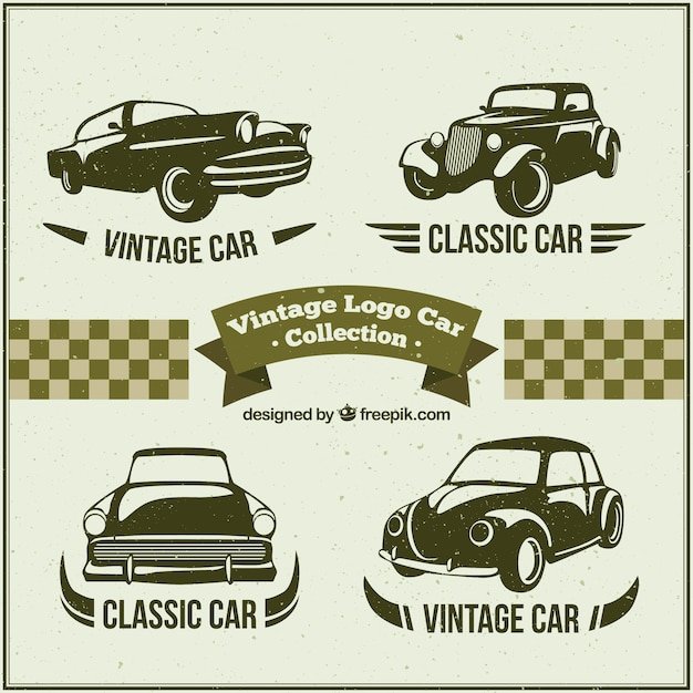 several logos with classic cars free vector