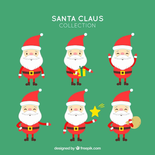 Several lovely santa claus characters