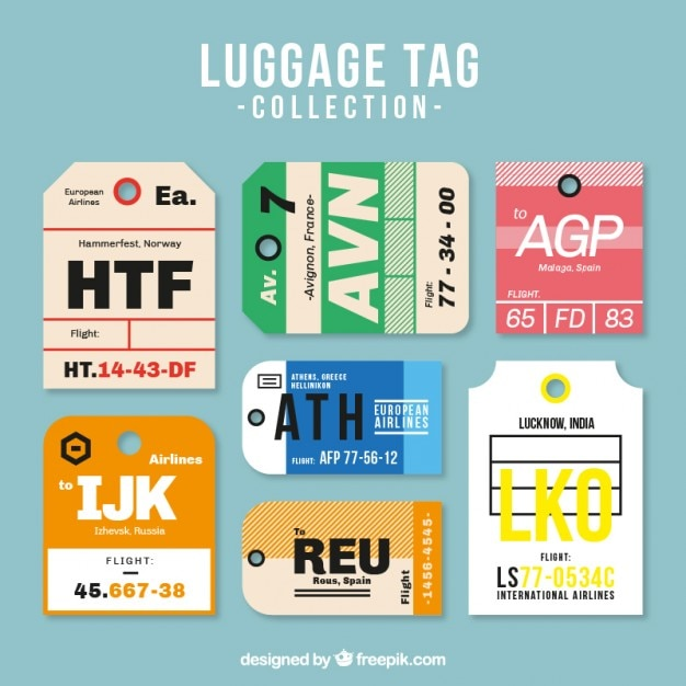 Several Luggage Tags In Flat Design Vector | Free Download