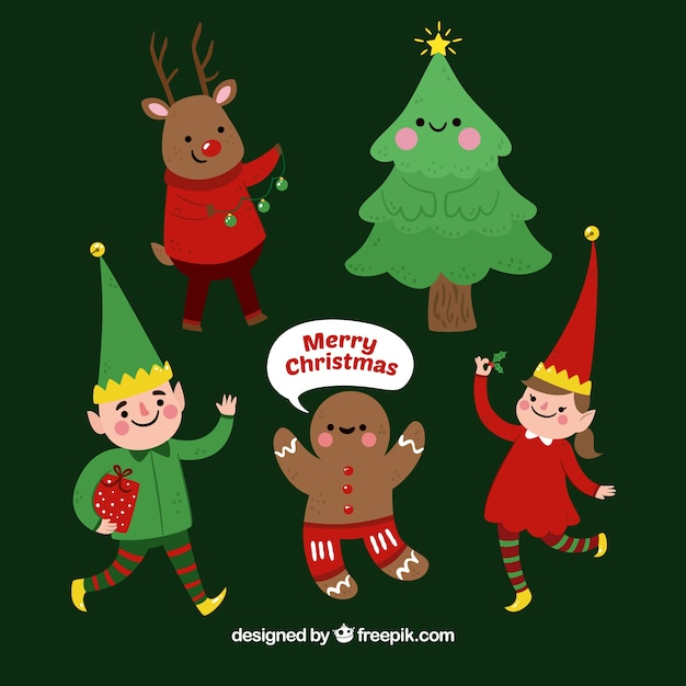 Several Nice Christmas Characters Free Vector