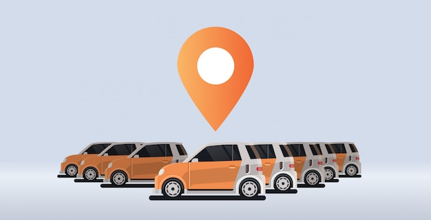 Several parked rental car sharing geo location mark carsharing concept online auto rent carpooling service Premium Vector