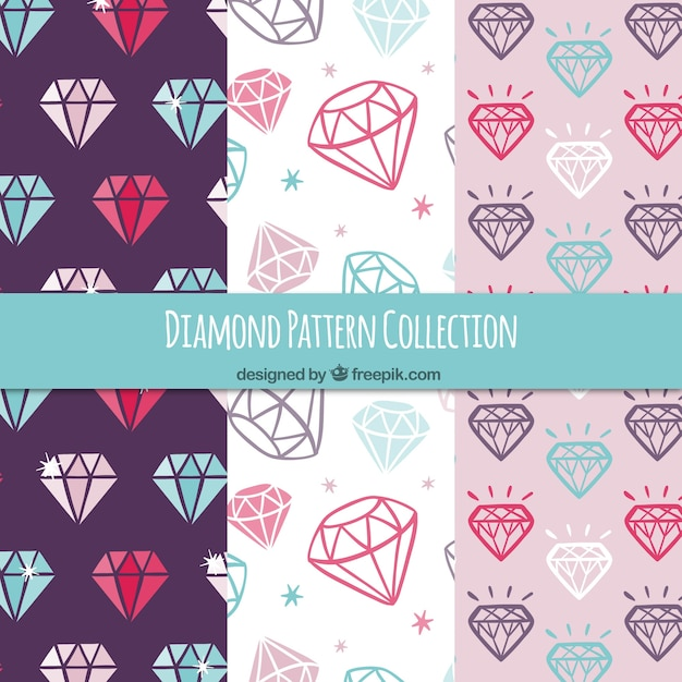 Several patterns of colored diamonds Free Vector