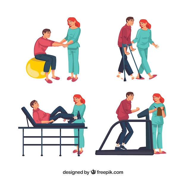 Several physiotherapy exercises Free Vector