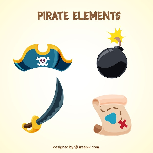 Several pirate elements in flat design Free Vector