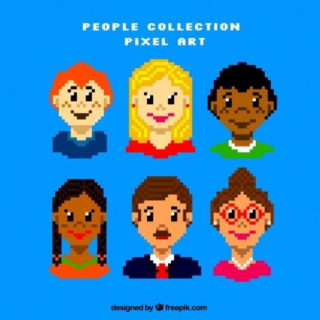 Several pixelated people avatars