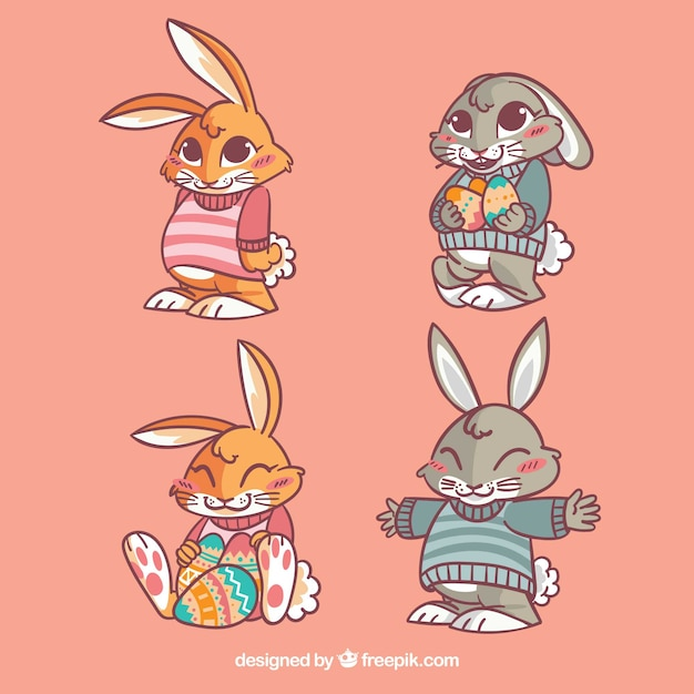 Several pretty easter rabbits Free Vector