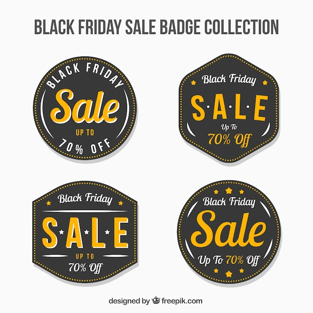 Several retro black friday sale stickers