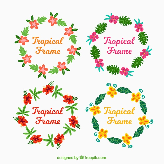 Several round frames with colorful flowers Vector | Free Download