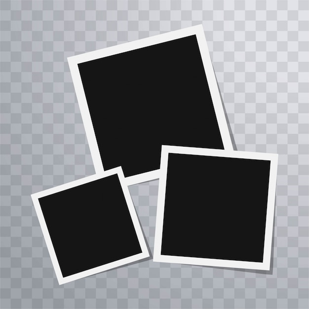 Retro Polaroid Photo Frame Template With