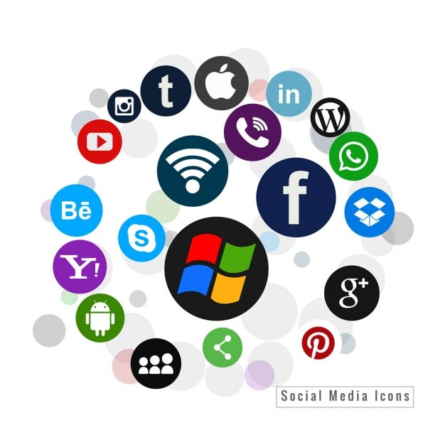Several social media icons in colors Free Vector