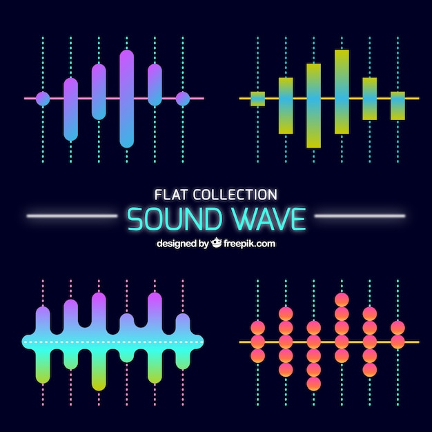 Several sound waves in flat design Free Vector