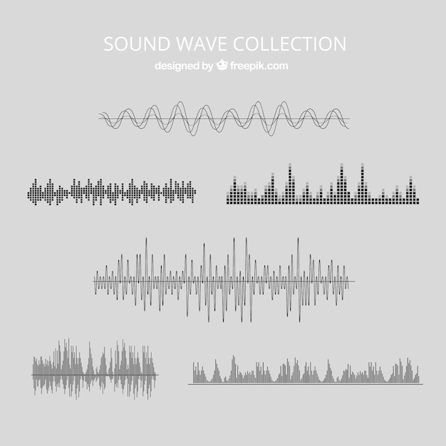 Several sound waves Free Vector
