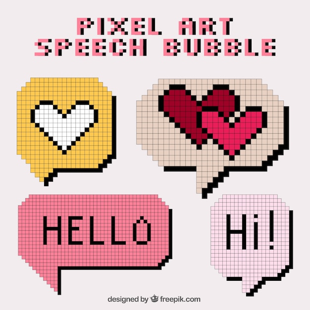 Several Speech Bubbles Made Of Pixel With Message