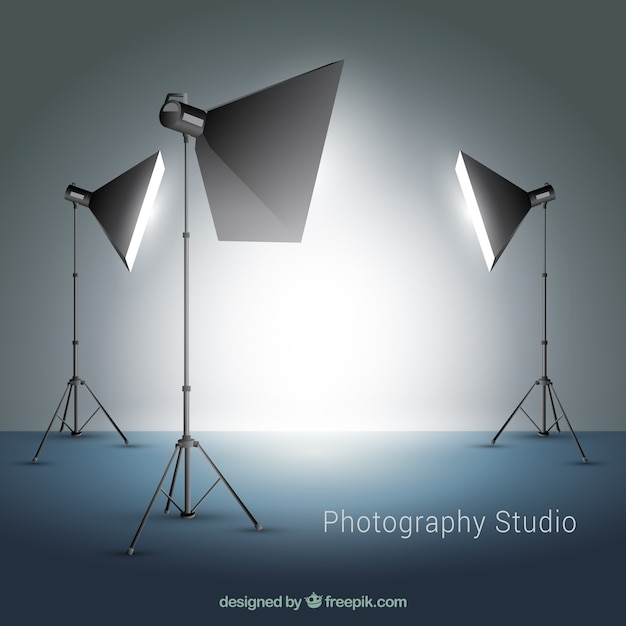Several spotlights for photography studio Free Vector