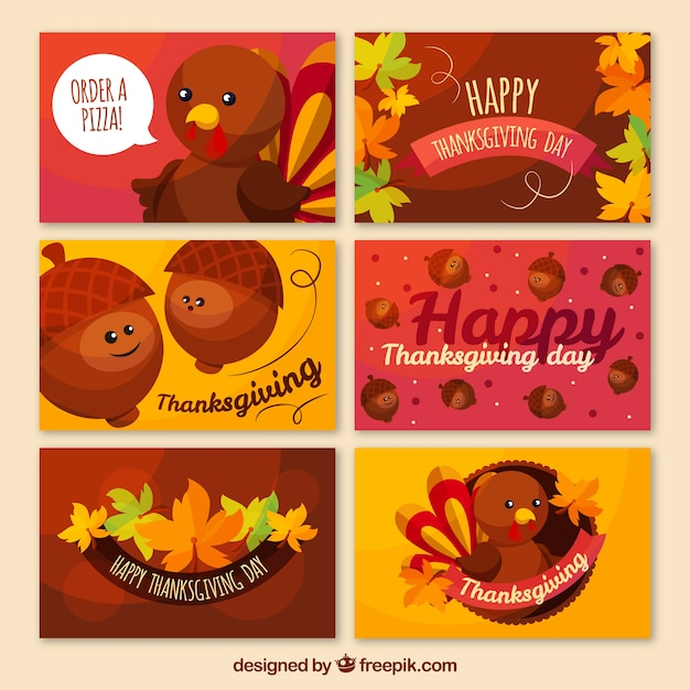 several thanksgiving cards with characters free vector - Free Thanksgiving Cards
