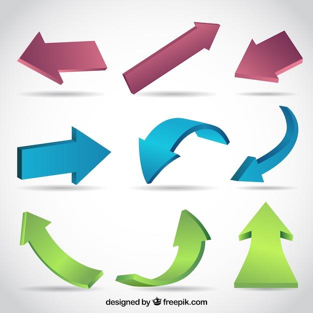 Several three-dimensional arrows