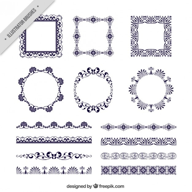 Several victorian frames and borders Vector | Free Download