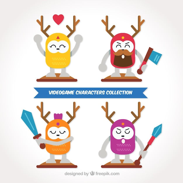 Several video game characters with weapons Free Vector