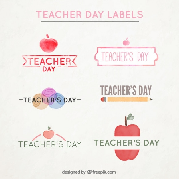 Several watercolor labels for the teacher\'s\ day