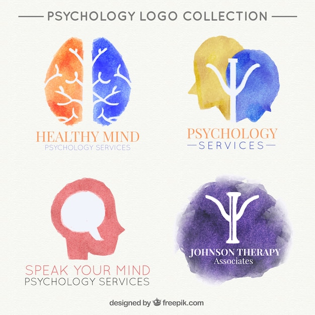 Several watercolor logos for psychological clinic Free Vector