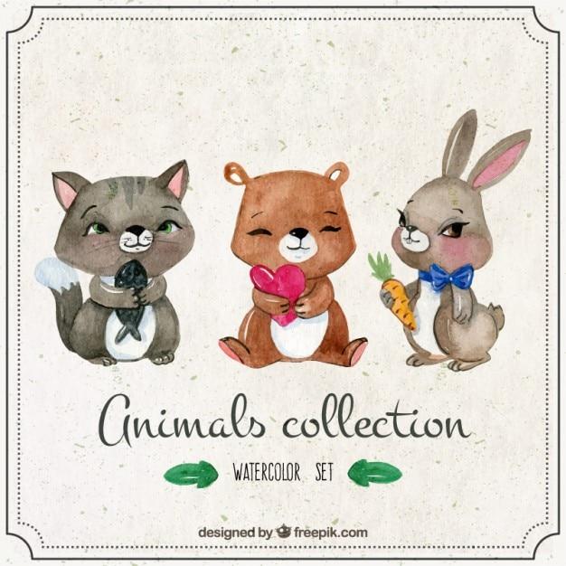 Several watercolor nice animals Free Vector