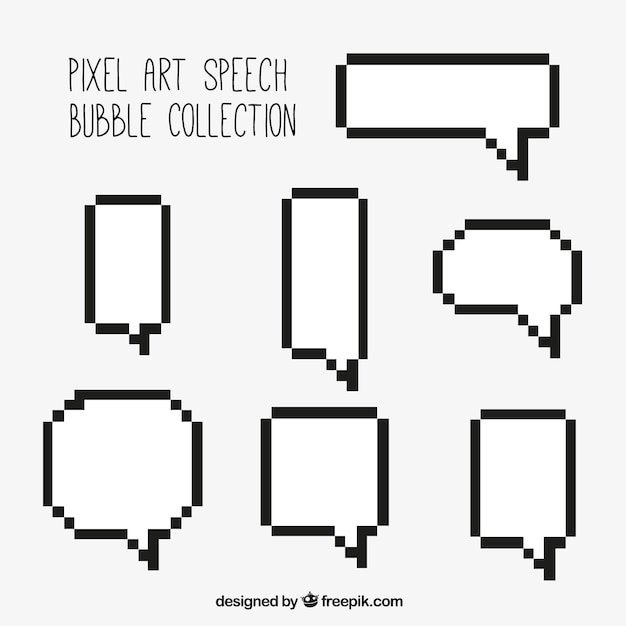 Several white speech bubbles with pixelated black outline Free Vector fb5b664ba51