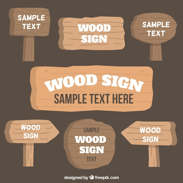 Several wooden signs Free Vector