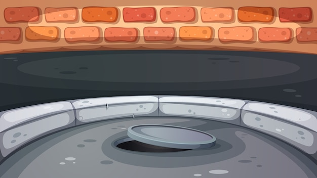 Sewage hatch illustration Premium Vector
