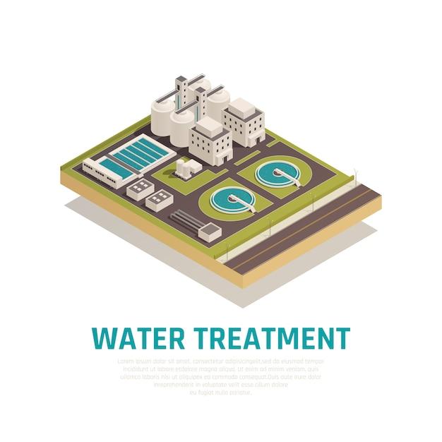 Composizione isometrica dell'impianto di depurazione delle acque reflue con vasche di sedimentazione filtrazione separazione ossidazione impianti di depurazione Vettore gratuito