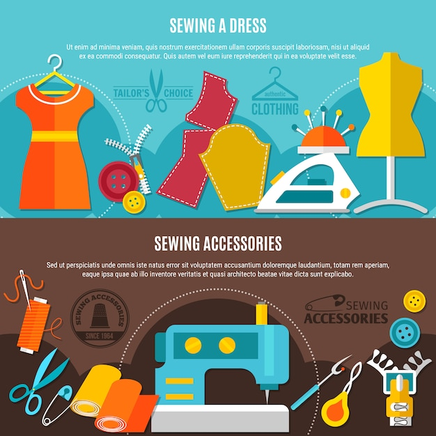 Sewing accessories banners set Free Vector