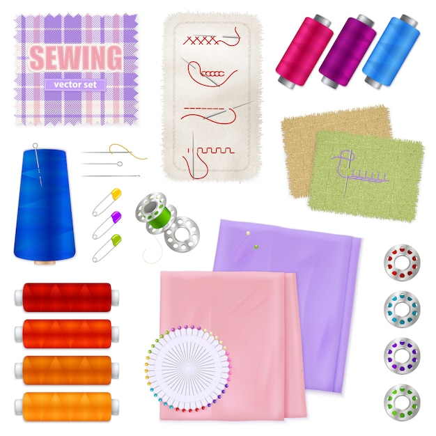 Sewing accessories realistic set Free Vector