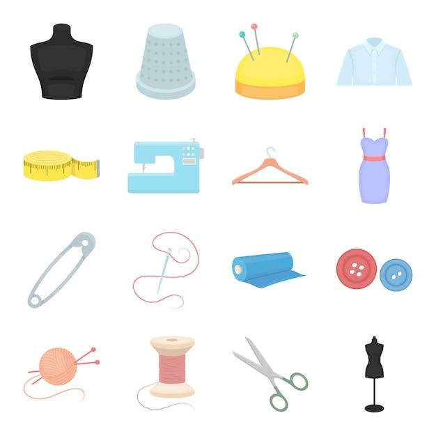 Sewing atelier cartoon vector icon set. vector illustration industry sewing atelier . Premium Vector