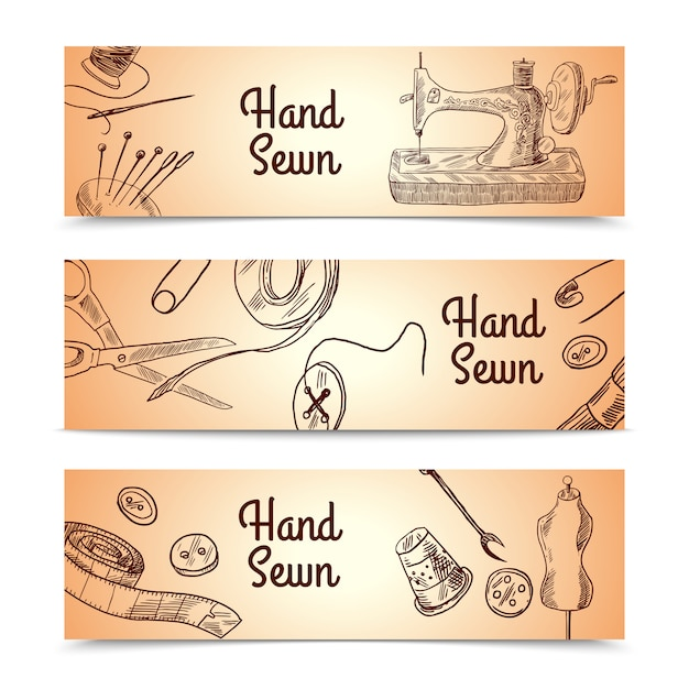 Sewing banners set Free Vector