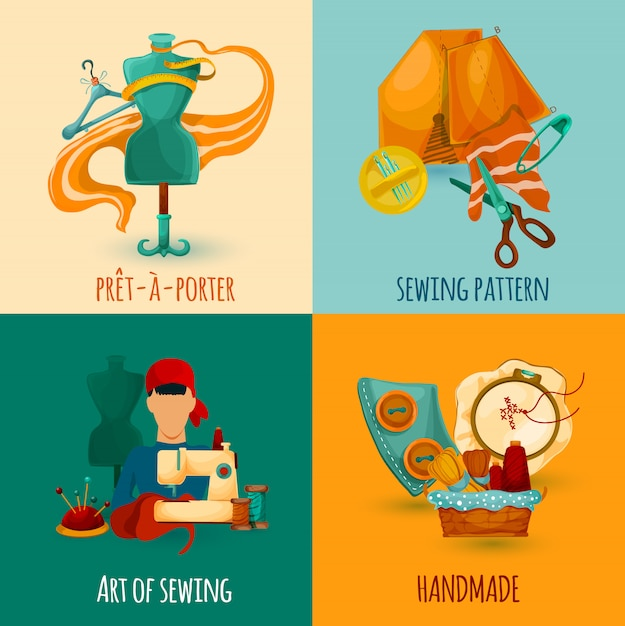 Sewing design concept Free Vector