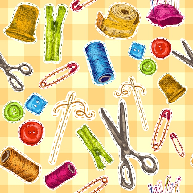 Sewing dressmaking and needlework accessories sketch seamless pattern vector illustration Free Vector