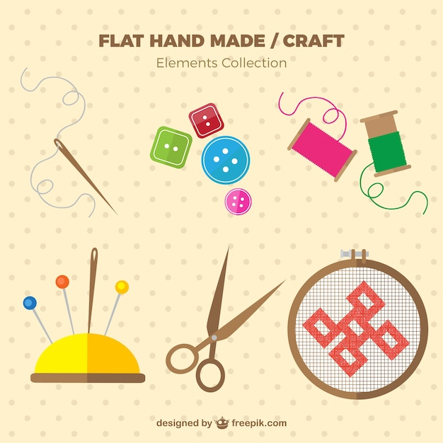 Sewing elements in flat design Free Vector