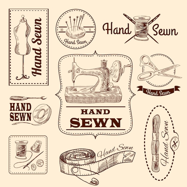 Sewing emblems set Free Vector