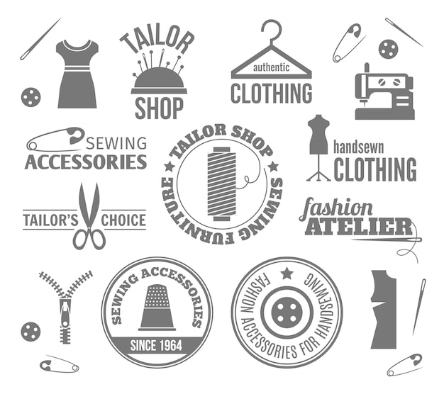 Sewing equipment labels, logos and badges set Premium Vector