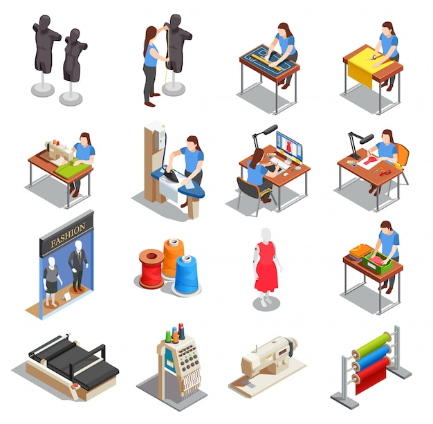 Sewing factory isometric icons set Free Vector