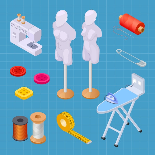 Sewing factory isometric set, sewing equipments vector collection Premium Vector