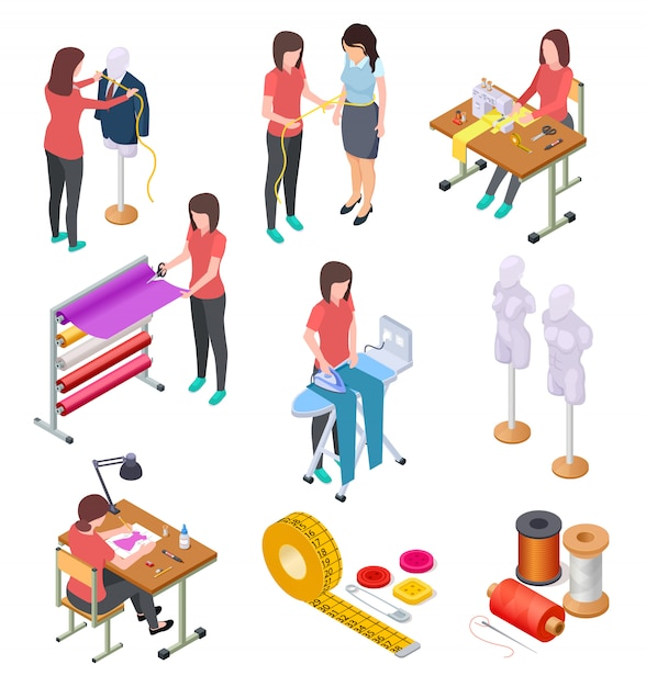Sewing factory isometric set. textile clothing manufacturing with workers and machinery. industrial sewing 3d collection Premium Vector