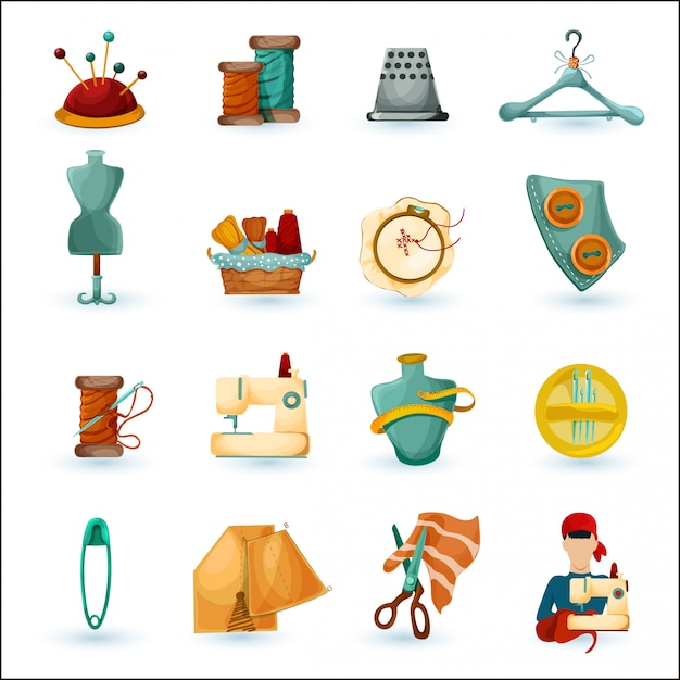 Sewing icons set Free Vector