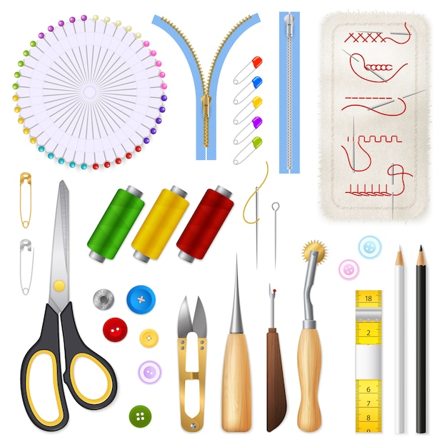 Sewing isolated icons set Free Vector