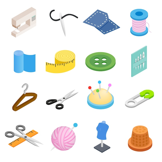 Sewing isometric 3d icon isolated on white background Premium Vector