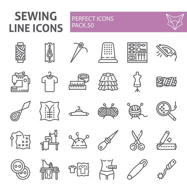 Sewing line icon set, tailor collection Premium Vector