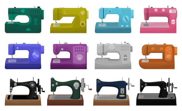 Sewing machine  illustration on white background.  cartoon set icon tool for sew.  cartoon set icon sewing machine. Premium Vector