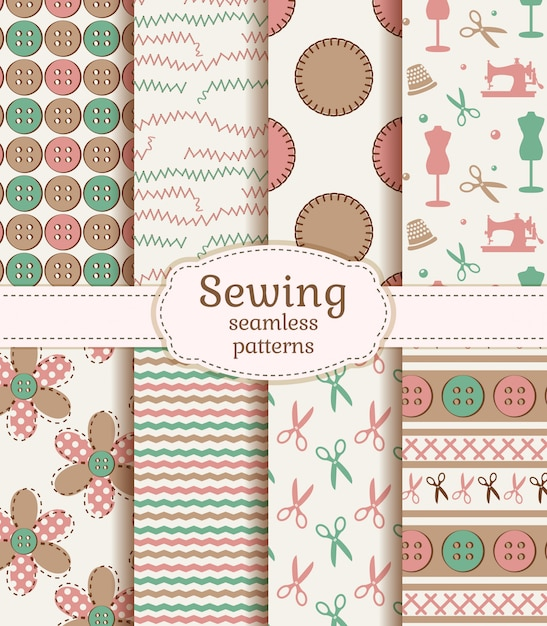 Sewing and needlework seamless patterns. vector set. Premium Vector